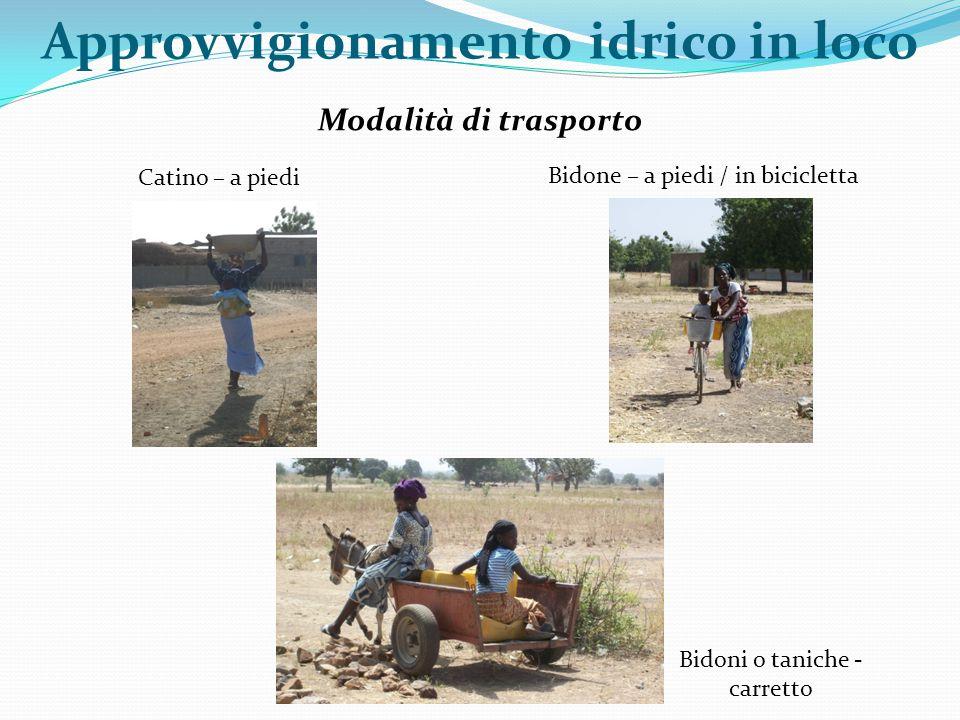 Modalità di trasporto Catino – a piedi Bidone – a piedi / in bicicletta Approvvigionamento idrico in loco Bidoni o taniche - carretto