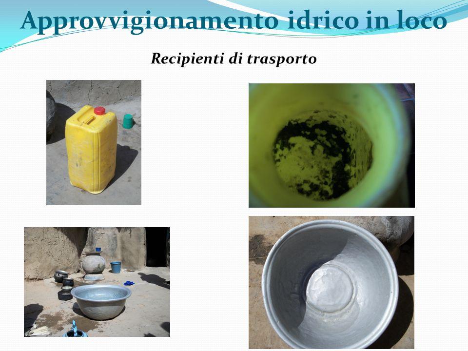 Modalità di stoccaggio Giare Bidoni Approvvigionamento idrico in loco Secchi