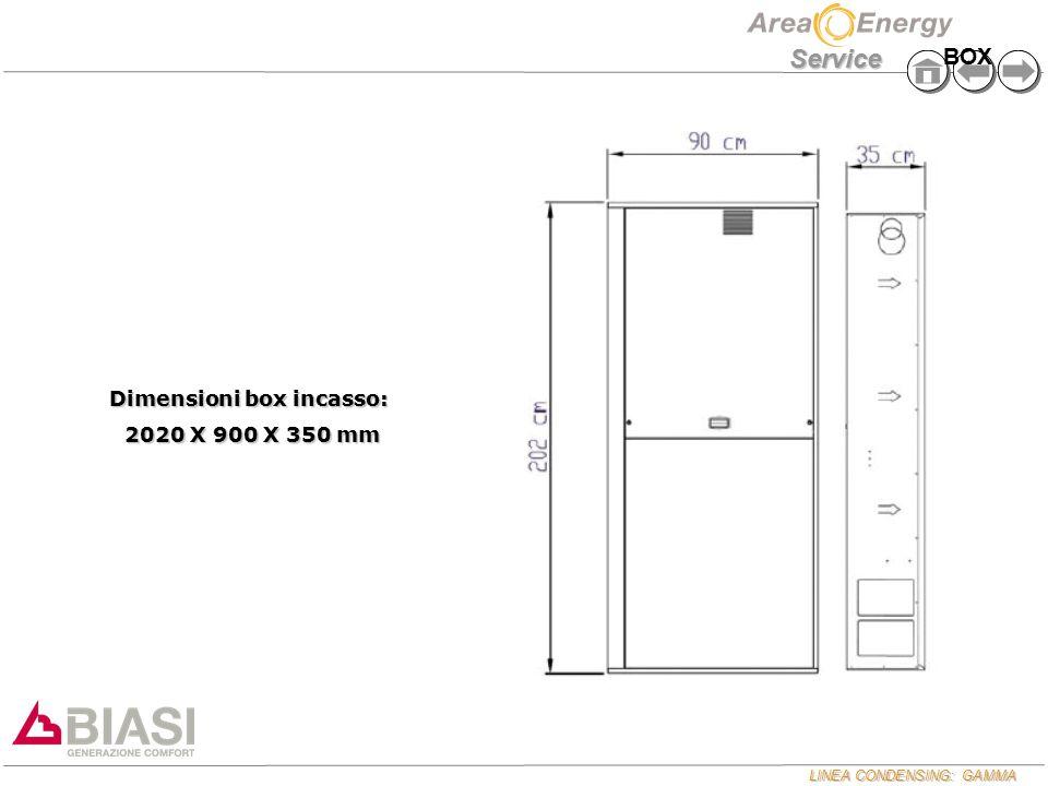LINEA CONDENSING: GAMMA Service Dimensioni box incasso: 2020 X 900 X 350 mm 2020 X 900 X 350 mm BOX