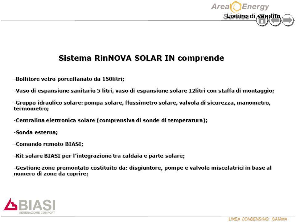 LINEA CONDENSING: GAMMA Service Sistema RinNOVA SOLAR IN comprende -Bollitore vetro porcellanato da 150litri; -Vaso di espansione sanitario 5 litri, v