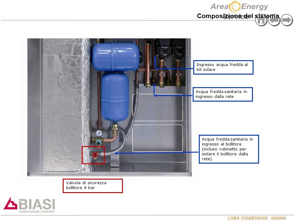 LINEA CONDENSING: GAMMA Service Composizione del sistema Acqua fredda sanitaria in ingresso dalla rete Acqua fredda sanitaria in ingresso al bollitore