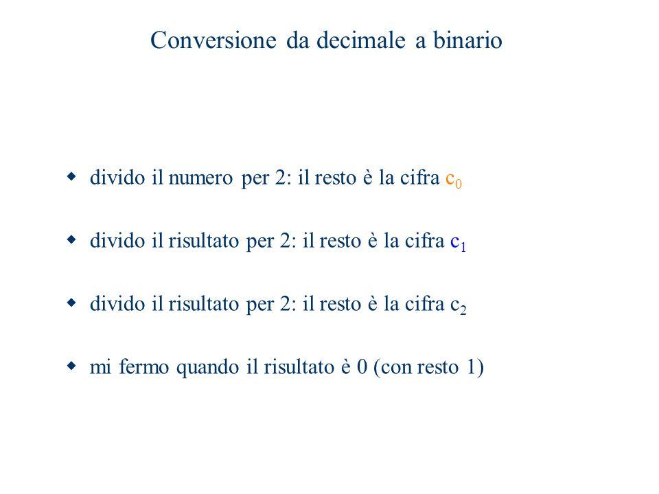 Conversione da decimale a binario  divido il numero per 2: il resto è la cifra c 0  divido il risultato per 2: il resto è la cifra c 1  divido il r