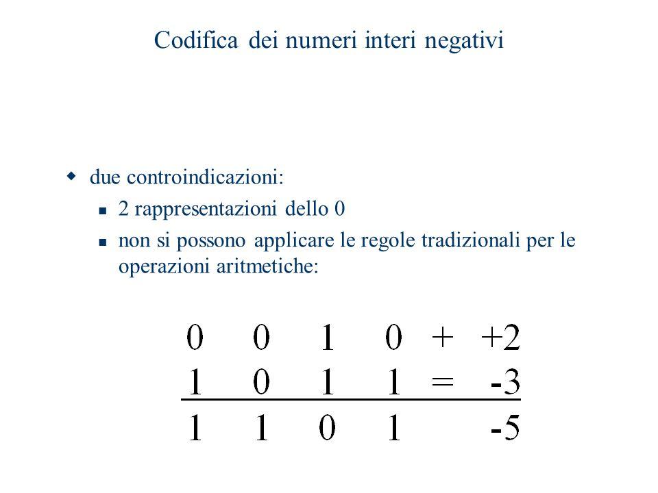 Codifica dei numeri interi negativi  due controindicazioni: 2 rappresentazioni dello 0 non si possono applicare le regole tradizionali per le operazi