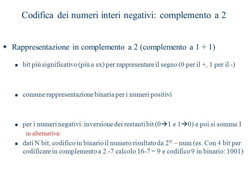 Codifica dei numeri interi negativi: complemento a 2  Rappresentazione in complemento a 2 (complemento a 1 + 1) bit più significativo (più a sx) per