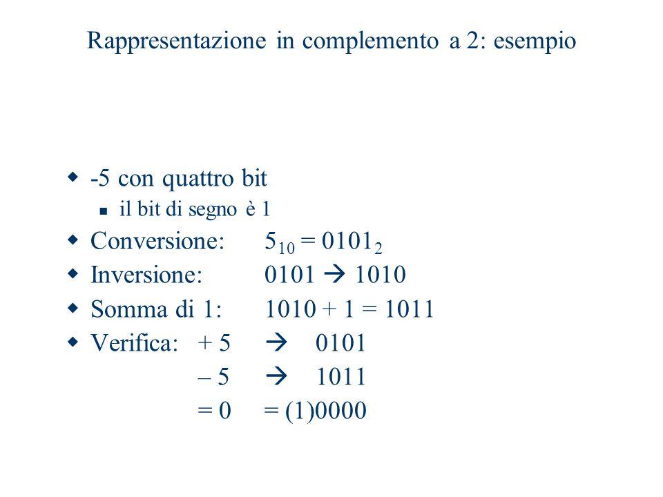 Rappresentazione in complemento a 2: esempio  -5 con quattro bit il bit di segno è 1  Conversione: 5 10 = 0101 2  Inversione: 0101  1010  Somma d