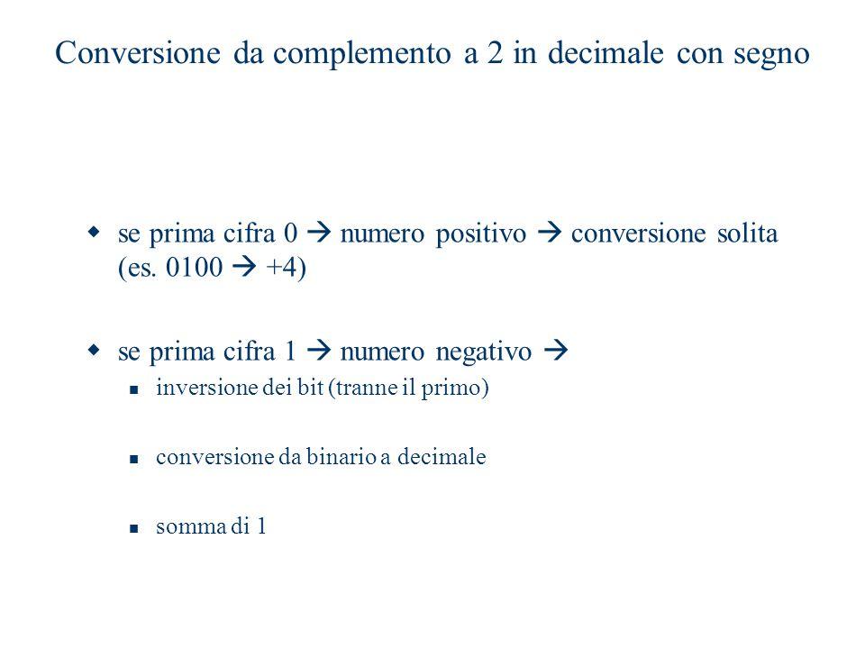 Conversione da complemento a 2 in decimale con segno  se prima cifra 0  numero positivo  conversione solita (es. 0100  +4)  se prima cifra 1  nu