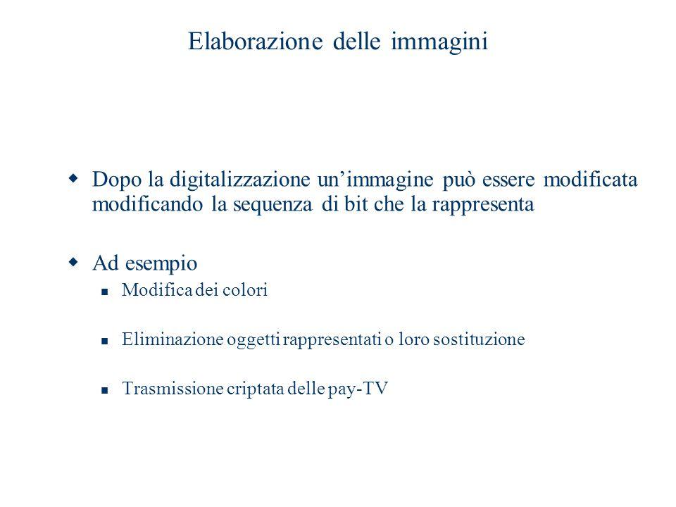 Elaborazione delle immagini  Dopo la digitalizzazione un'immagine può essere modificata modificando la sequenza di bit che la rappresenta  Ad esempi