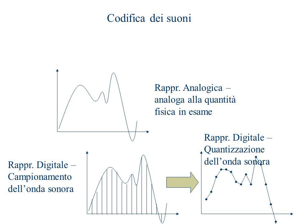 Codifica dei suoni Rappr. Analogica – analoga alla quantità fisica in esame Rappr. Digitale – Campionamento dell'onda sonora Rappr. Digitale – Quantiz
