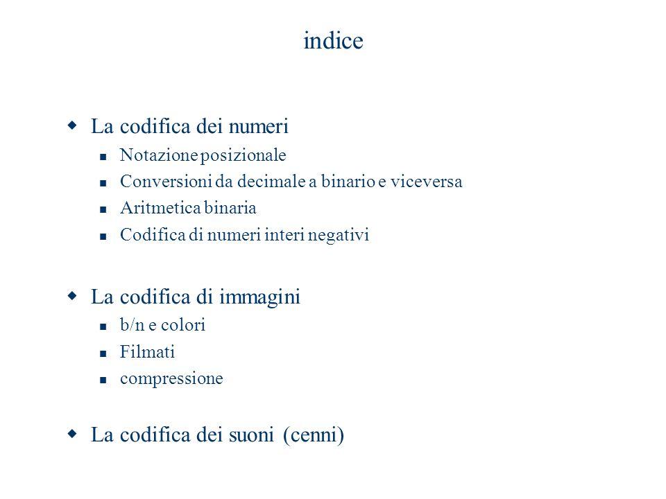 indice  La codifica dei numeri Notazione posizionale Conversioni da decimale a binario e viceversa Aritmetica binaria Codifica di numeri interi negat