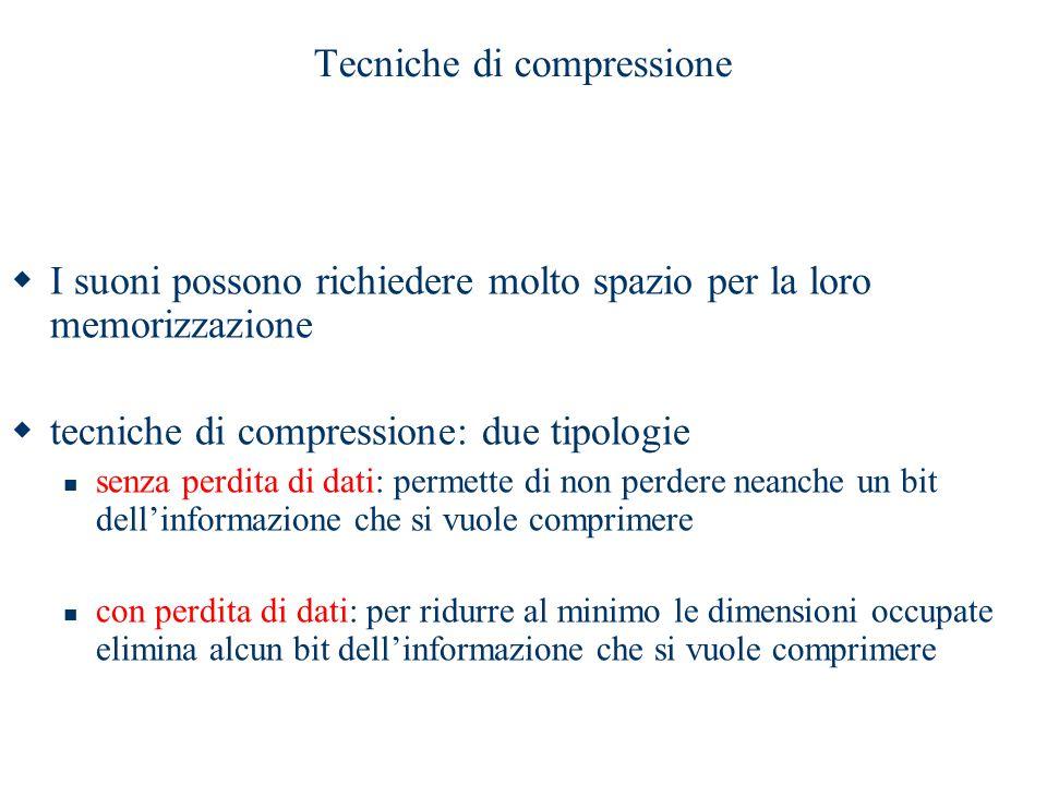 Tecniche di compressione  I suoni possono richiedere molto spazio per la loro memorizzazione  tecniche di compressione: due tipologie senza perdita