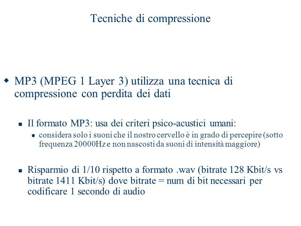 Tecniche di compressione  MP3 (MPEG 1 Layer 3) utilizza una tecnica di compressione con perdita dei dati Il formato MP3: usa dei criteri psico-acusti