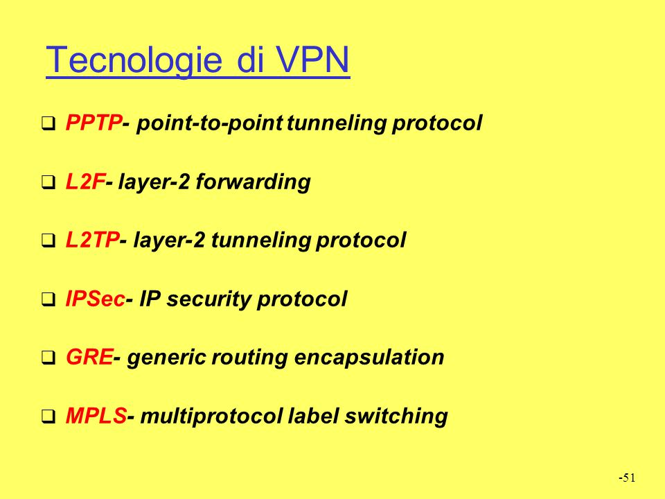 -51 Tecnologie di VPN  PPTP- point-to-point tunneling protocol  L2F- layer-2 forwarding  L2TP- layer-2 tunneling protocol  IPSec- IP security prot