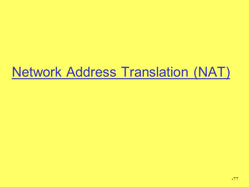 -77 Network Address Translation (NAT)