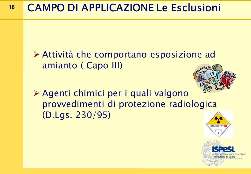 18  Attività che comportano esposizione ad amianto ( Capo III)  Agenti chimici per i quali valgono provvedimenti di protezione radiologica (D.Lgs. 2