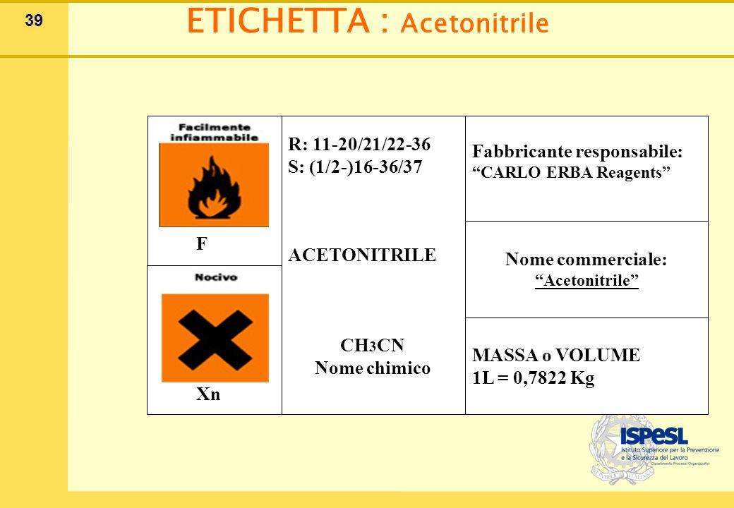 39 ETICHETTA : Acetonitrile F Xn R: 11-20/21/22-36 S: (1/2-)16-36/37 ACETONITRILE CH 3 CN Nome chimico Fabbricante responsabile: CARLO ERBA Reagents Nome commerciale: Acetonitrile MASSA o VOLUME 1L = 0,7822 Kg