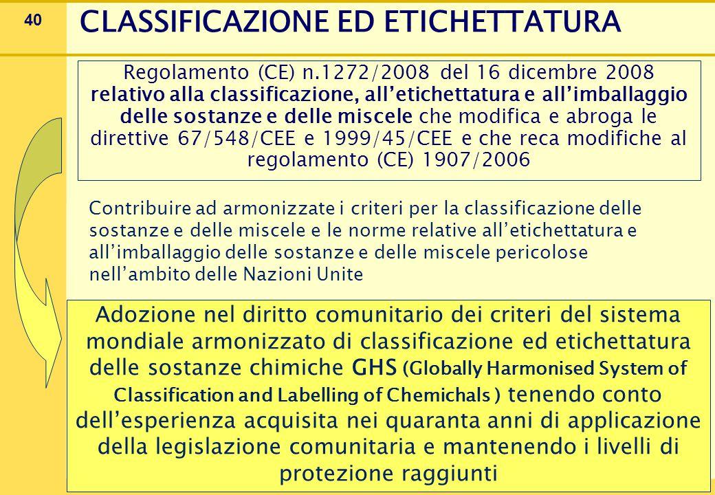 40 CLASSIFICAZIONE ED ETICHETTATURA Regolamento (CE) n.1272/2008 del 16 dicembre 2008 relativo alla classificazione, all'etichettatura e all'imballaggio delle sostanze e delle miscele che modifica e abroga le direttive 67/548/CEE e 1999/45/CEE e che reca modifiche al regolamento (CE) 1907/2006 Contribuire ad armonizzate i criteri per la classificazione delle sostanze e delle miscele e le norme relative all'etichettatura e all'imballaggio delle sostanze e delle miscele pericolose nell'ambito delle Nazioni Unite Adozione nel diritto comunitario dei criteri del sistema mondiale armonizzato di classificazione ed etichettatura delle sostanze chimiche GHS (Globally Harmonised System of Classification and Labelling of Chemichals ) tenendo conto dell'esperienza acquisita nei quaranta anni di applicazione della legislazione comunitaria e mantenendo i livelli di protezione raggiunti