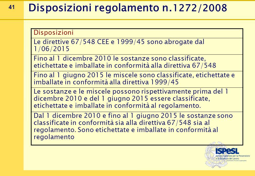 42 Disposizioni regolamento n.1272/2008 Il regolamento CLP (classificazione etichettatura e imballaggio) è entrato in vigore il 20/01/09 Circolare Ministero della Salute del 31/03/08 Dipartimento della prevenzione e comunicazione La modifica attualmente più significativa è la soppressione dell'Allegato I della direttiva 67/548/CEE (contenente l'elenco delle sostanze classificate ufficialmente) e la sua trasposizione nell'Allegato VI del CLP che attualmente contiene due tabelle : 3.1 classificazione secondo il GHS 3.2 classificazione secondo la direttiva 67/548