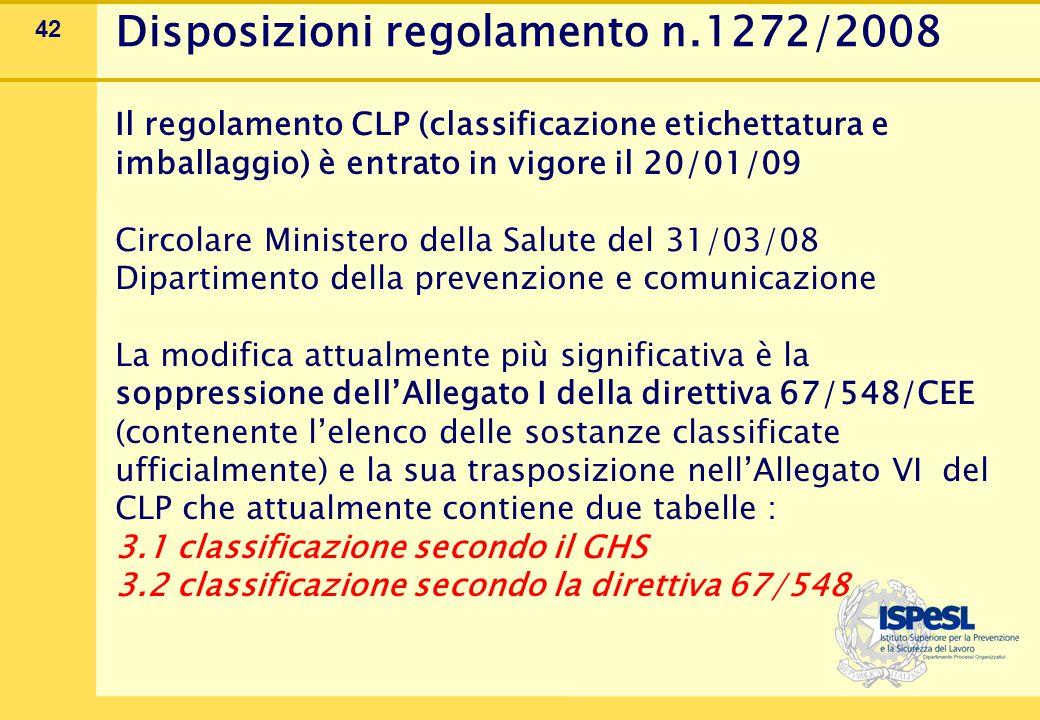 42 Disposizioni regolamento n.1272/2008 Il regolamento CLP (classificazione etichettatura e imballaggio) è entrato in vigore il 20/01/09 Circolare Min