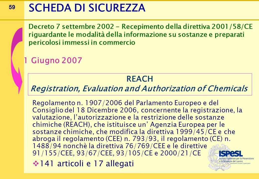 59 Regolamento n. 1907/2006 del Parlamento Europeo e del Consiglio del 18 Dicembre 2006, concernente la registrazione, la valutazione, l'autorizzazion