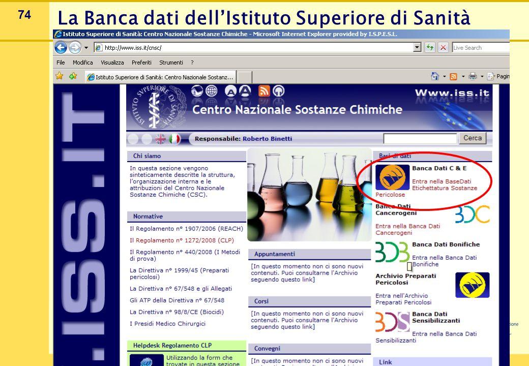 74 La Banca dati dell'Istituto Superiore di Sanità