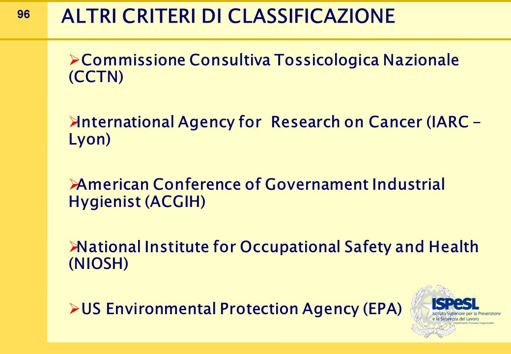 96 ALTRI CRITERI DI CLASSIFICAZIONE  Commissione Consultiva Tossicologica Nazionale (CCTN)  International Agency for Research on Cancer (IARC - Lyon)  American Conference of Governament Industrial Hygienist (ACGIH)  National Institute for Occupational Safety and Health (NIOSH)  US Environmental Protection Agency (EPA)