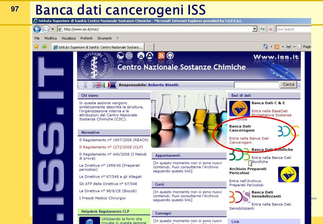 97 Banca dati cancerogeni ISS