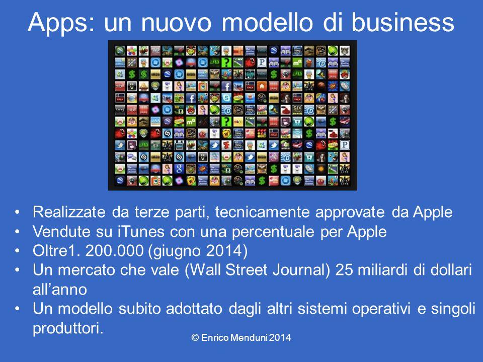 Apps: un nuovo modello di business Realizzate da terze parti, tecnicamente approvate da Apple Vendute su iTunes con una percentuale per Apple Oltre1.