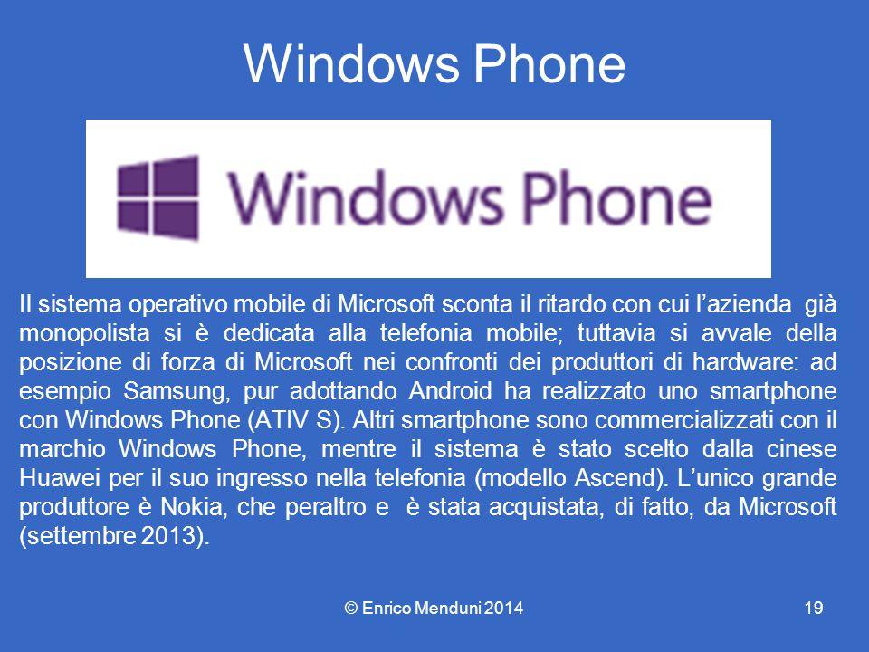 Windows Phone Il sistema operativo mobile di Microsoft sconta il ritardo con cui l'azienda già monopolista si è dedicata alla telefonia mobile; tuttavia si avvale della posizione di forza di Microsoft nei confronti dei produttori di hardware: ad esempio Samsung, pur adottando Android ha realizzato uno smartphone con Windows Phone (ATIV S).