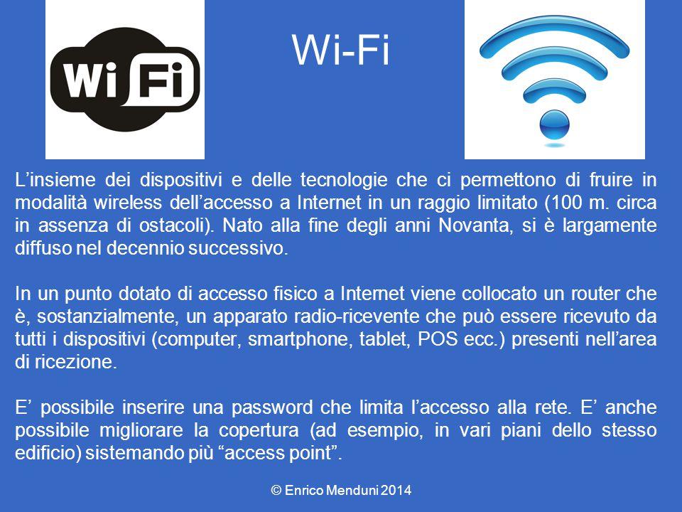 Wi-Fi L'insieme dei dispositivi e delle tecnologie che ci permettono di fruire in modalità wireless dell'accesso a Internet in un raggio limitato (100 m.