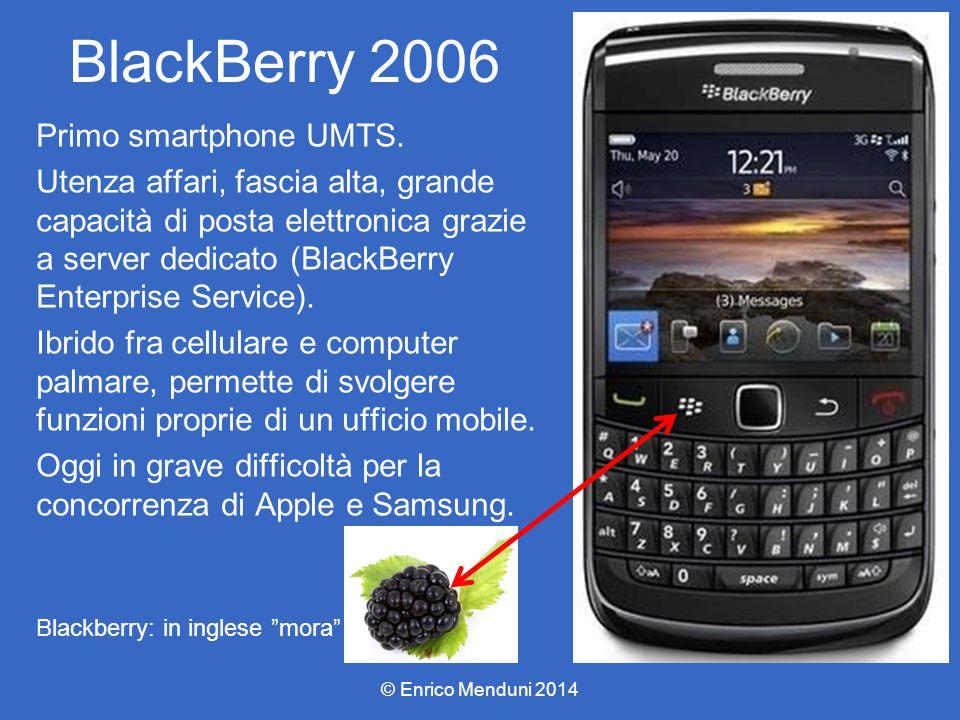 BlackBerry 2006 Primo smartphone UMTS. Utenza affari, fascia alta, grande capacità di posta elettronica grazie a server dedicato (BlackBerry Enterpris