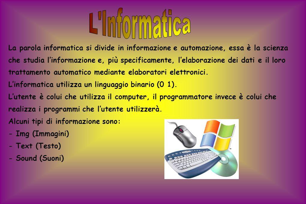 La parola informatica si divide in informazione e automazione, essa è la scienza che studia l'informazione e, più specificamente, l'elaborazione dei d