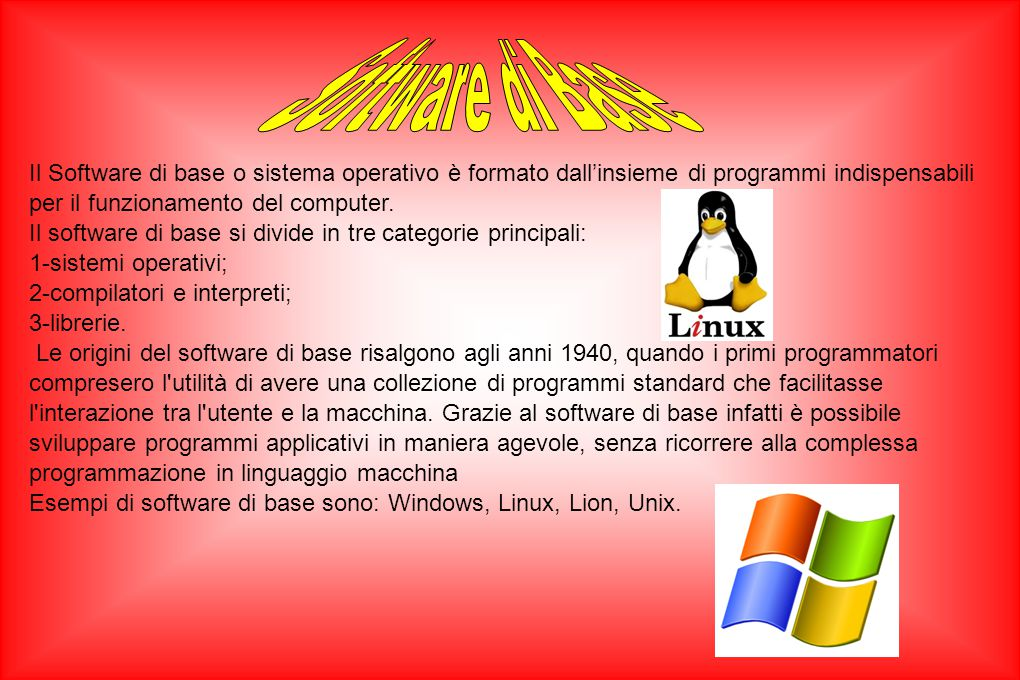 Il Software di base o sistema operativo è formato dall'insieme di programmi indispensabili per il funzionamento del computer. Il software di base si d