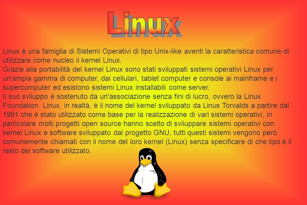 Linux è una famiglia di Sistemi Operativi di tipo Unix-like aventi la caratteristica comune di utilizzare come nucleo il kernel Linux.