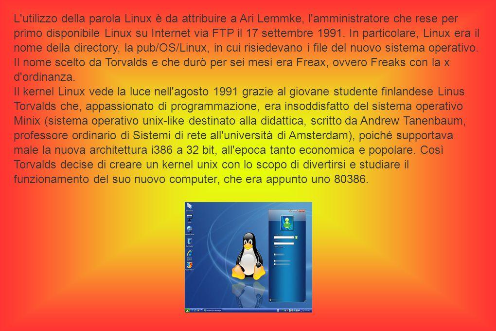 L utilizzo della parola Linux è da attribuire a Ari Lemmke, l amministratore che rese per primo disponibile Linux su Internet via FTP il 17 settembre 1991.