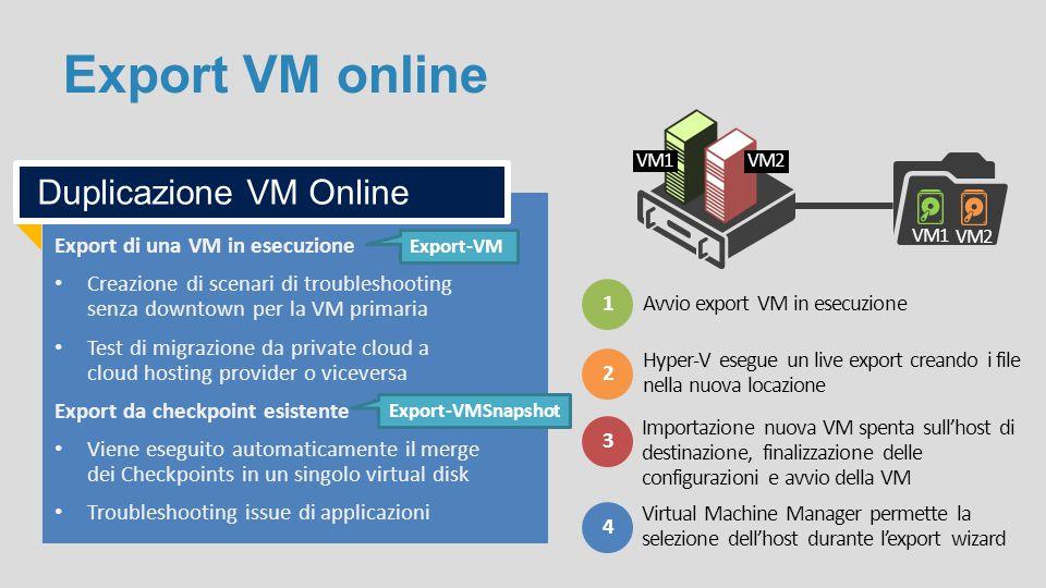 Export di una VM in esecuzione Creazione di scenari di troubleshooting senza downtown per la VM primaria Test di migrazione da private cloud a cloud h