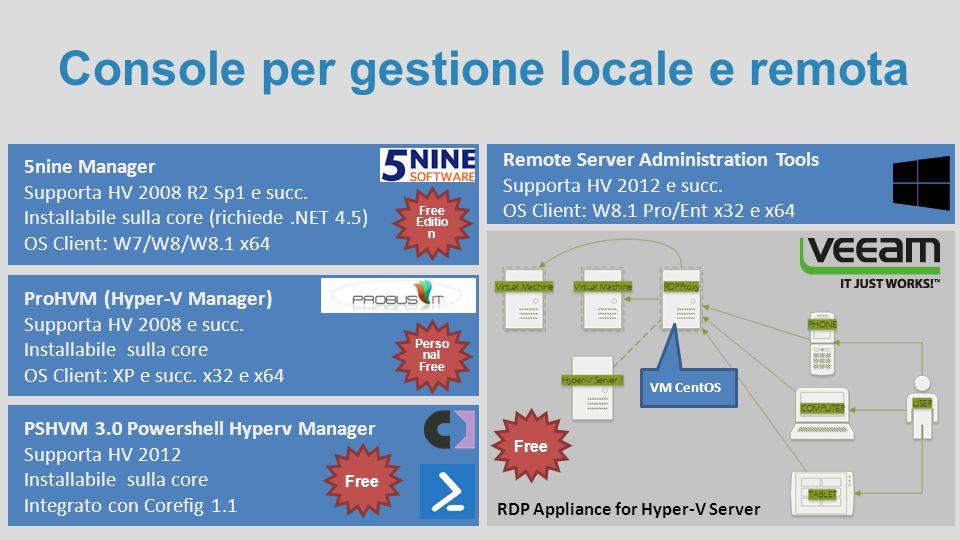 Console per gestione locale e remota 5nine Manager Supporta HV 2008 R2 Sp1 e succ. Installabile sulla core (richiede.NET 4.5) OS Client: W7/W8/W8.1 x6