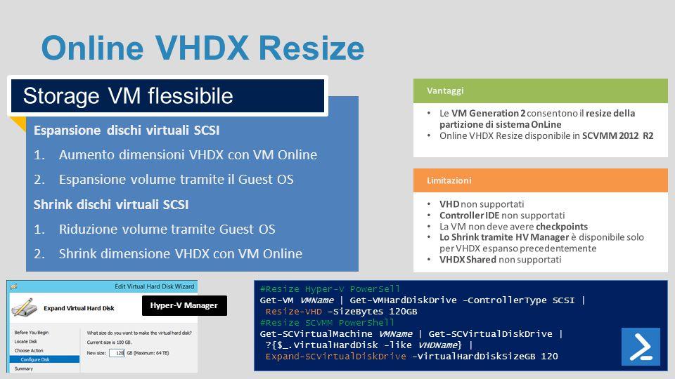 Online VHDX Resize Espansione dischi virtuali SCSI 1.Aumento dimensioni VHDX con VM Online 2.Espansione volume tramite il Guest OS Shrink dischi virtu