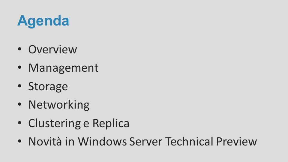 Agenda Overview Management Storage Networking Clustering e Replica Novità in Windows Server Technical Preview