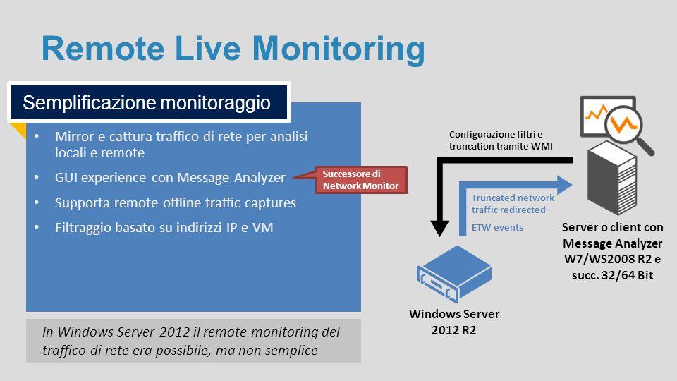 Remote Live Monitoring Mirror e cattura traffico di rete per analisi locali e remote GUI experience con Message Analyzer Supporta remote offline traff