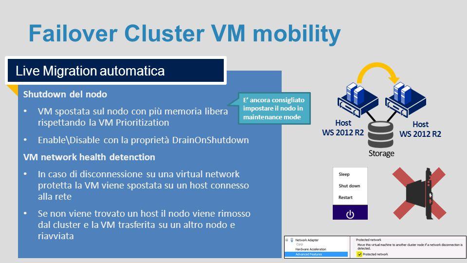 Failover Cluster VM mobility Host WS 2012 R2 Shutdown del nodo VM spostata sul nodo con più memoria libera rispettando la VM Prioritization Enable\Dis