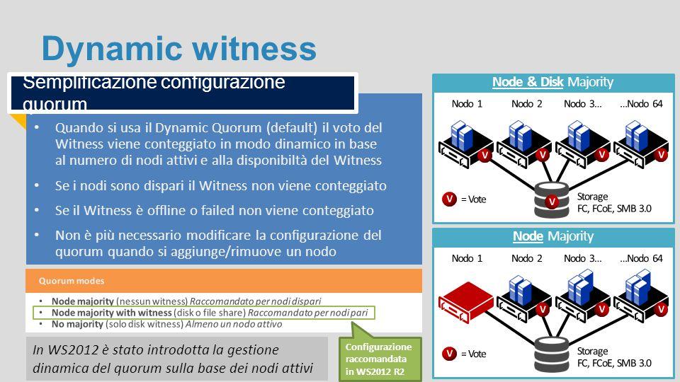 Dynamic witness Quando si usa il Dynamic Quorum (default) il voto del Witness viene conteggiato in modo dinamico in base al numero di nodi attivi e al