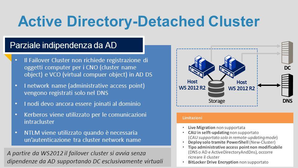 Active Directory-Detached Cluster Il Failover Cluster non richiede registrazione di oggetti computer per i CNO (cluster name object) e VCO (virtual co