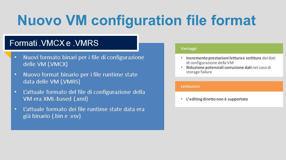 Nuovo VM configuration file format Nuovi formato binari per i file di configurazione delle VM (.VMCX) Nuovo format binario per i file runtime state da