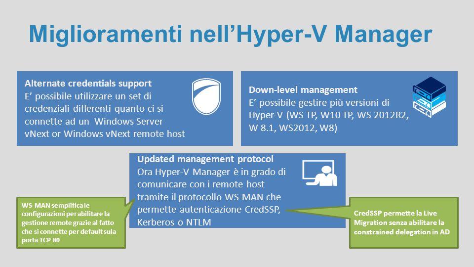 Miglioramenti nell'Hyper-V Manager Alternate credentials support E' possibile utilizzare un set di credenziali differenti quanto ci si connette ad un