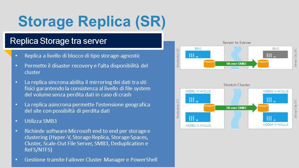 Storage Replica (SR) Replica a livello di blocco di tipo storage-agnostic Permette il disaster recovery e l'alta disponibilità del cluster La replica