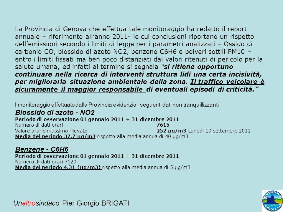 La Provincia di Genova che effettua tale monitoraggio ha redatto il report annuale – riferimento all'anno 2011- le cui conclusioni riportano un rispet