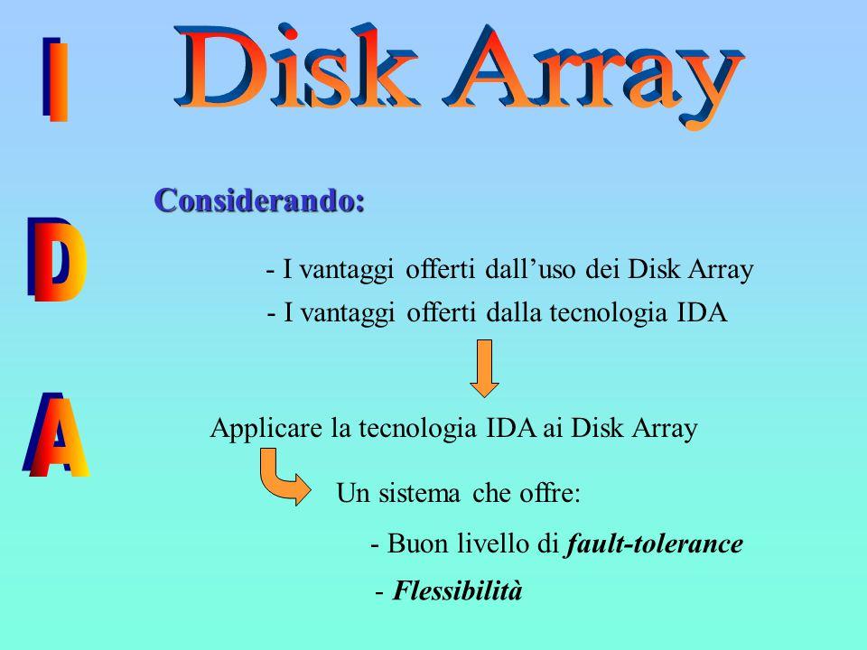 - I vantaggi offerti dall'uso dei Disk Array - I vantaggi offerti dalla tecnologia IDA Considerando: Considerando: Applicare la tecnologia IDA ai Disk Array Un sistema che offre: - Buon livello di fault-tolerance - Flessibilità