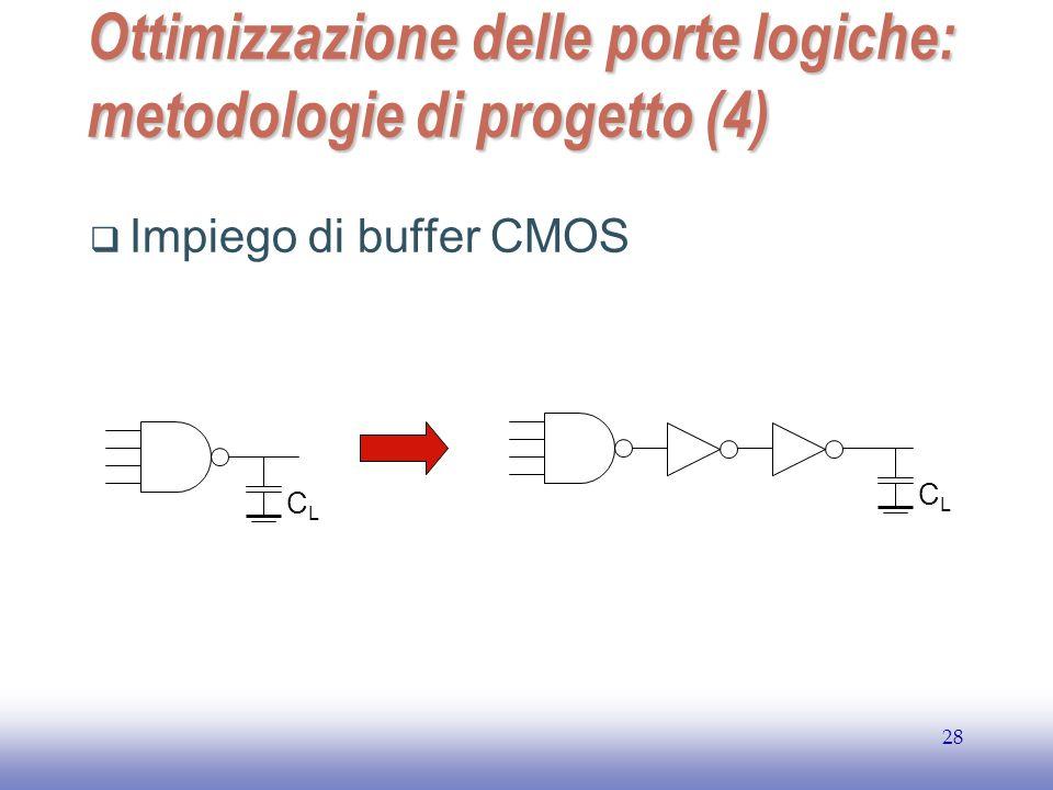 EE141 28 Ottimizzazione delle porte logiche: metodologie di progetto (4)  Impiego di buffer CMOS CLCL CLCL