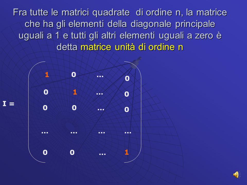 In una matrice quadrata di ordine n gli elementi a 11, a 22 … a nn costituiscono la diagonale principale, mentre a 1n, a 2,n-1… a n1 costituiscono gli elementi della diagonale secondaria a 11 a 12 a 13 a 1n a 21 a 22 a 23 a 2n a n1 a n2 a n3 a nn …….