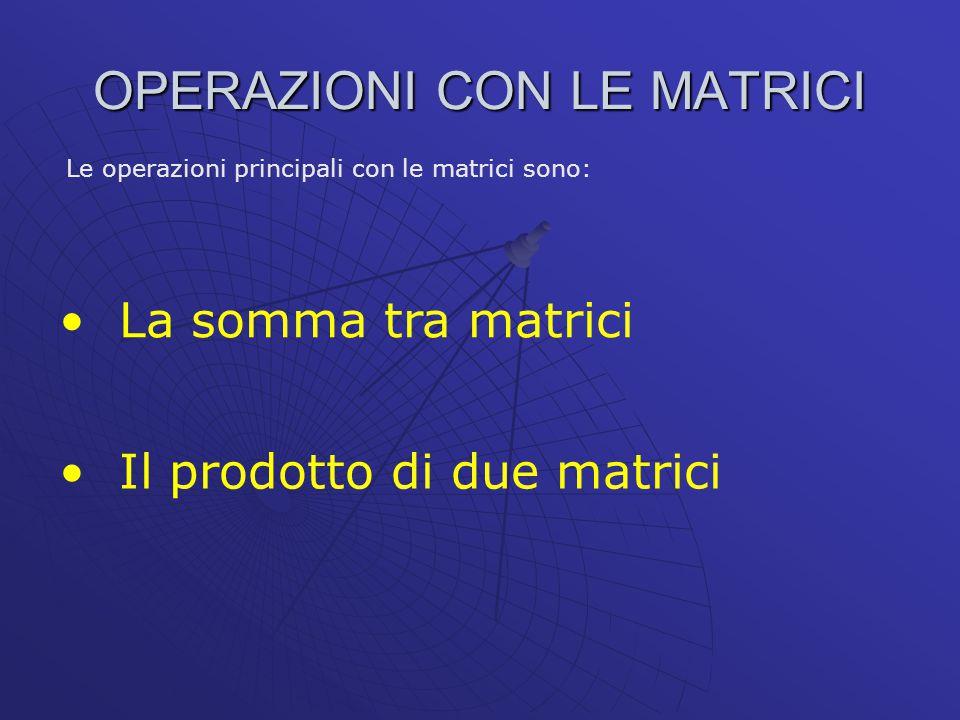 Una matrice quadrata di ordine n si dice simmetrica se sono eguali le coppie di elementi simmetrici rispetto alla diagonale principale 1 -2 3 2 0 3 0 1 A = La matrice è una matrice simmetrica